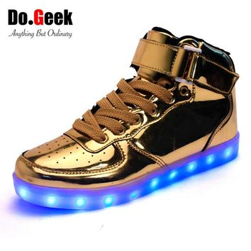 DoGeek LED Light Up Shoes Gold High Top Women and Men zapatos luces dorado Fashion LED