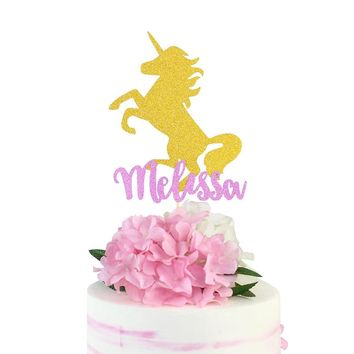 Unicorn Cake Topper Glitter Topper Unicorn Party Decor Gold Pink Cake Topper Party Birthday Party Decorations Party Supplies