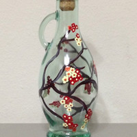 Olive Oil Bottle Hand Painted with Japanese Cherry Blossom