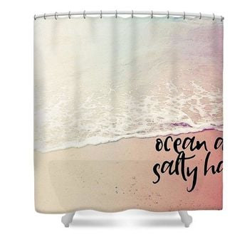 Ocean Air, Salty Hair, Watercolor Art By Adam Asar - Asar Studios 1 - Shower Curtain