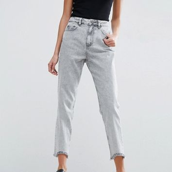 ASOS ORIGINAL MOM Jeans in Percy Black Acid Wash with Arched Raw Hem at asos.com
