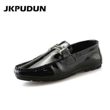 JKPUDUN Italian Mens Driving Shoes Penny Loafers Designer Fashion Boat Loafers lightweight Slipon Shoes Casual Black Flats Tenis