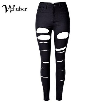 Weljuber Hole Denim Ripped Black Jeans Women Jeggings Cool High Quality Wash High Waist Skinny Jeans Casual Pencil Pants Zipper