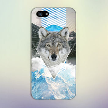 Geometric Blue Wolf x Snowy Mountains Phone Case for iPhone 6 6 Plus iPhone 5 5s 5c 4 4s Samsung Galaxy s6 s5 s4 & s3 and Note 5 4 3 2