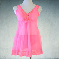 1960s Babydoll Nightie in Hot Pink Like New Chic Lingerie