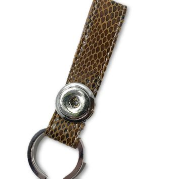 Designer Leather Snap Key Fob