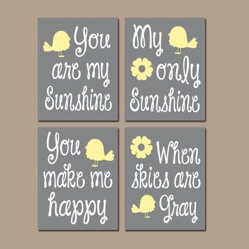 YELLOW GRAY Bird Nursery, You Are My Sunshine Wall Art, Sunshine CANVAS or Prints, Baby Girl Nursery Decor, Song Rhyme Quote Decor  Set of 4