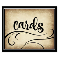 Printable rustic cards Sign for wedding or event - card box vintage swirly black printable download - download and print today
