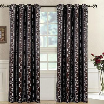 Chocolate Regalia Abstract Jacquard Tetured Grommet Top Curtain Panels (Two Panels )