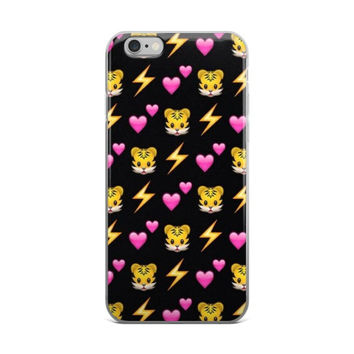 Lightning Bolt Pink Hearts & Tiger Emoji Collage Teen Cute Girly Girls Black iPhone 4 4s 5 5s 5C 6 6s 6 Plus 6s Plus 7 & 7 Plus Case