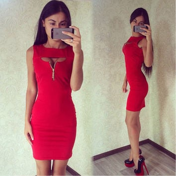 Fashion Women Bandage Bodycon Sleeveless Evening Sexy Party Cocktail Mini Dress