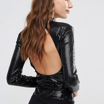 Y.A.S Alice Sequin Bodystocking at asos.com