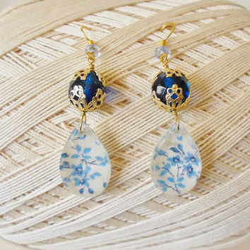 Cobalt Beaded Dangle Earrings, Floral print Drops, Delft Blue, Upcycled Vintage fabric, OOAK, Retro jewellery