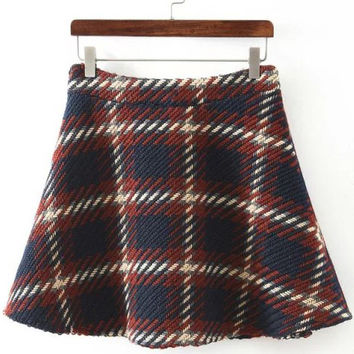 Plaid Flare Mini Skirt