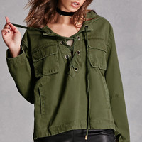 Lace-Up Hooded Anorak
