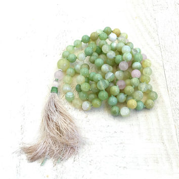 Green Agate Knotted Mala Necklace, 108 Bead Green Mala, Silk Tassel Knotted Mala Beads, Yoga Meditation Beads, Long Beaded Mala Necklace