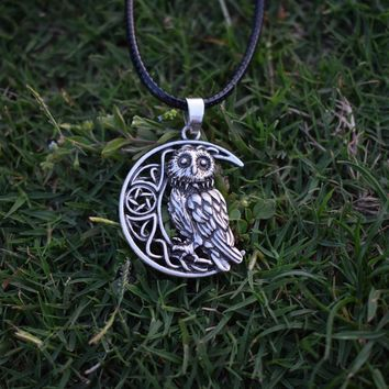 Owl Goddess Crescent Moon Pendant Wicca Celtic Pagan Amulet Talisman
