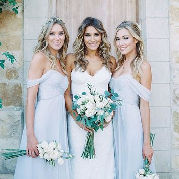 Beautiful Country Bridesmaid Dresses Cheap Off Shoulder Floor Long Pleats Chiffon Wedding Guest Light Blue Bridesmaids Dress