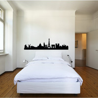 Europe City Skyline Vinyl Wall Decal Brussels Paris Moscow Berlin Munich Amsterdam