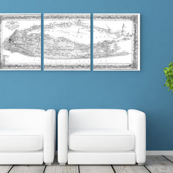 3 Panel Long Island Sound New York Antique Vintage Map Black and White Print on Canvas Giclee Home Decor Nautical Theme Art Deco