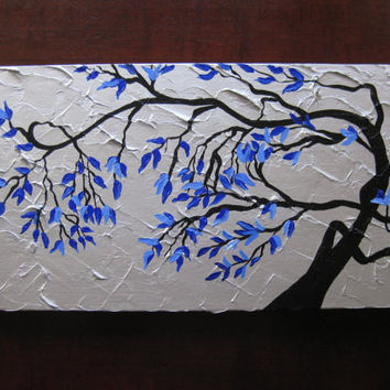 present gift cherry blossom tree trees large abstract art black gray grey silver blue Japanese look original painting wall