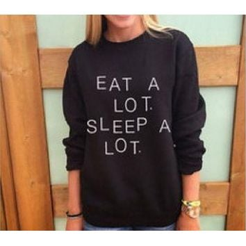 DCCKR2 Fashion English sweater personality couple EAT A LO T