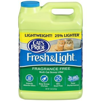 Cat's Pride Fresh And Light Premium Clumping Fragrance Free Scoopable Cat Litter Jug, 15-Pound - Walmart.com