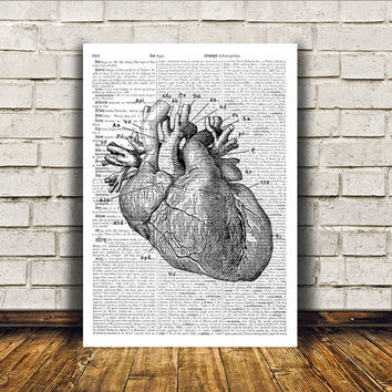 Modern decor Heart poster Dictionary print Anatomy art RTA93
