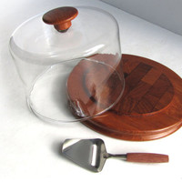 Mod Atapco Cheese Tray Glass Dome and Cheese Shaver