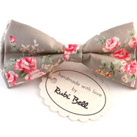 Bow Tie - floral bow tie - wedding bow tie - grey bow tie with pink flower pattern - man bow tie - men bow tie - gifts for him