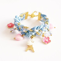 Blue braided bracelet with charms , statement bracelet , friendship bracelet , fancy bracelet , gift for girl , gift for her