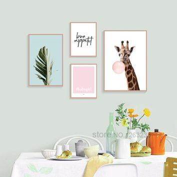 Giraffe Pink Bubble Nordic Poster Picture Green Leaf Wall Art Canvas Painting Cuadros Decoracion Home Posters Animals Unframed