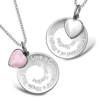 Love is Composed of a Single Soul Inspirational Heart Couples Set White and Pink Cats Eye Necklaces