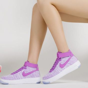 LMFON Nike Air Force 1 Flyknit Mid-High 818018-800 Purple For Women Men Running Sport Casual Shoes Sneakers
