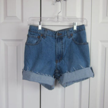 Jordache High Waisted Denim Shorts Cut Off Denim Shorts Womens Size 11 12 Mom Jean Shorts Hipster High Waist Shorts