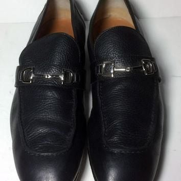 Gucci Black Leather Loafers Men's Shoes Size 9