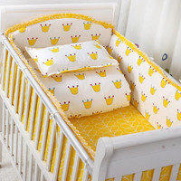 6 Pcs Baby Bedding Sets Bumper Breathable Crib Cotton Print Cartoon Baby Bumper Bed Around Bed Sheets Baby Bed Bumper Bedding