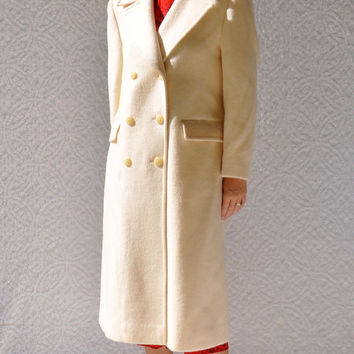 PENDLETON Wool Overcoat/ Full Length Dressy Winter Coat. Cream Double Breasted Trench Coat. Mod Winter Wedding Cocktail Party Formal Coat/ 8