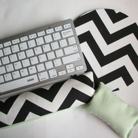 Keyboard and / or WRIST REST for MousePads  -  Reversible black white chevron and mint green - coworker friend desk gift office teacher dorm