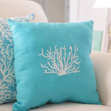 Beach Decor Aqua Blue, Throw Pillow, Linen Coral Embroidered 16x16 Pillow