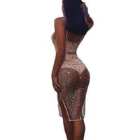 YJSFG HOUSE Fashion Sexy Women Hollow Out Sequins Party Dress Summer Deep V-neck Bodycon Bandage Midi Pencil Dress Backless Robe