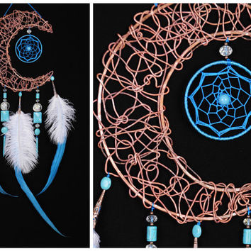 Blue Dream Catcher Moon Dreamcatcher Copper dreamcatcher turquoise dreamcatchers wall decor malachite handmade gift idea Valentine's Day