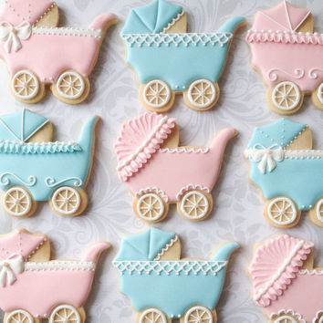 Pastel and White Baby Carriage Cookies - One Dozen  Decorated Sugar Cookies perfect for Showers