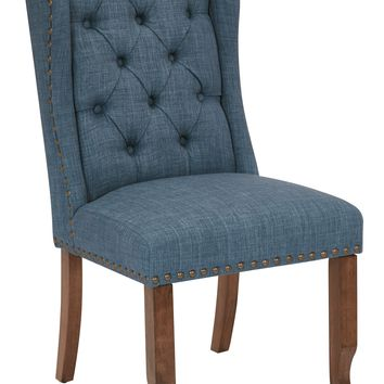 Office Star Navy Jessica Tufted Wing Dining Chair