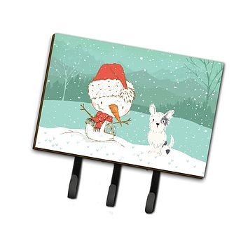 Black and White Terrier Snowman Christmas Leash or Key Holder CK2095TH68