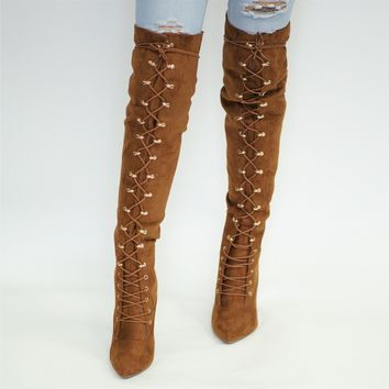 Lace Up Pointy Toe OTK Boot