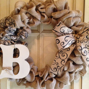 Burlap Monogram Wreath with a Scroll Printed Burlap Bow