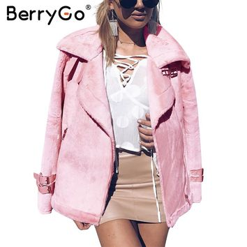 BerryGo Faux leather lamb fur suede jacket coat women Moto zipper fur jacket female overcoat Casual turn-down winter coat 2017