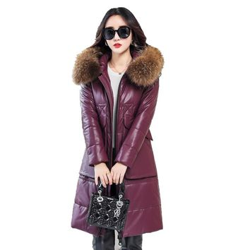 2017 New Long Leather Women Jacket Coat Real Raccoon Fur Collar Hooded Female Winter Outerwear & Coats Warm Parka Down jacket