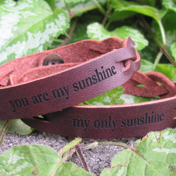 Pack of TWO: Braided Bracelets -- You Are My Sunshine, My Only Sunshine